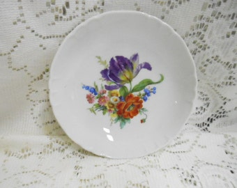 Vintage Richard Ginori Floral Dessert Fruit  Bowl M-4 Made in Italy Blue Pink Purple Green Yellow Red & White Bouquet  Collectible Porcelain
