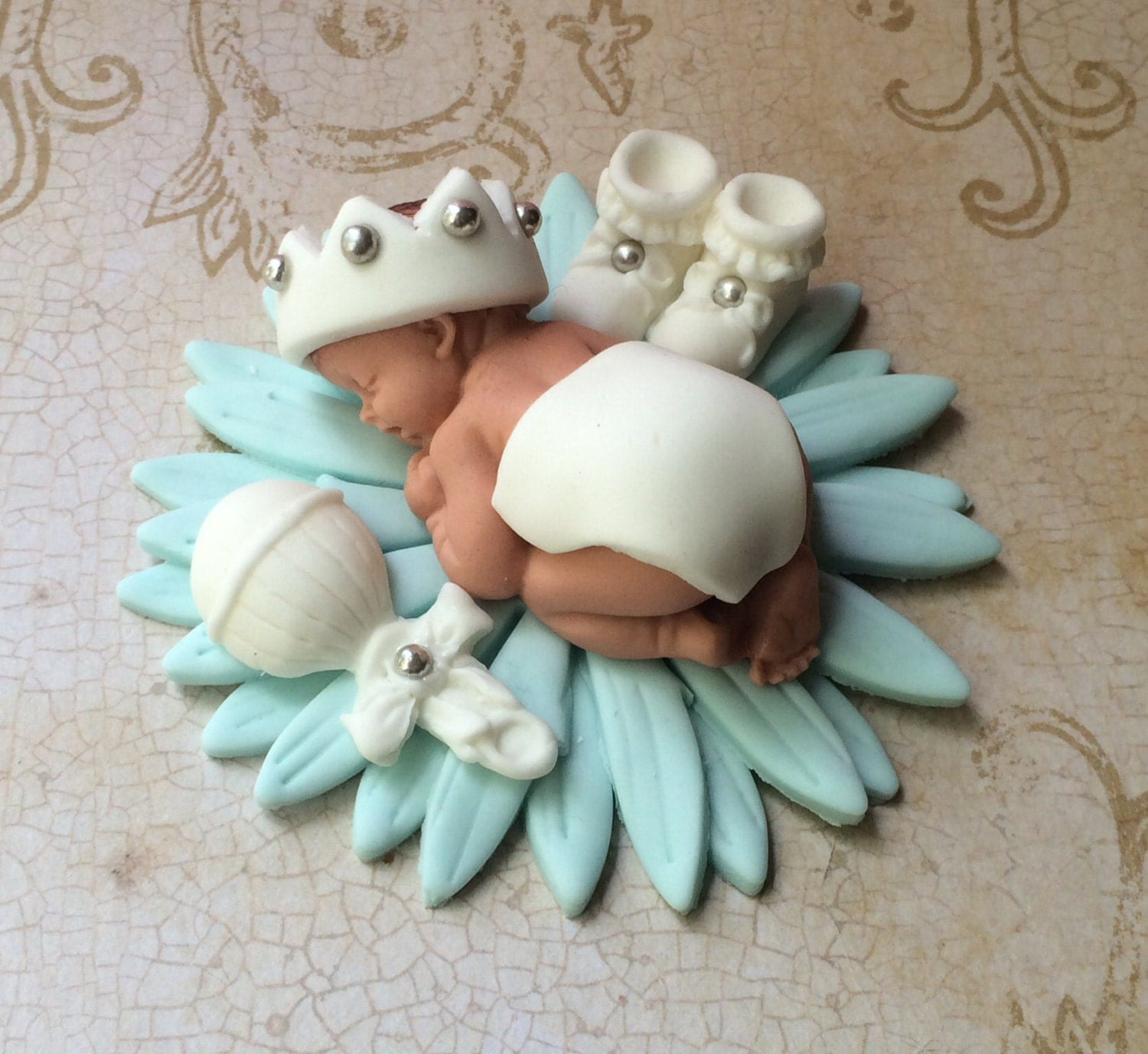 christening cake topper baby shower cake boy fondant cake