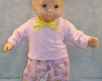 Teddy Bears on Pink Pajamas made to fit 15 inch baby dolls