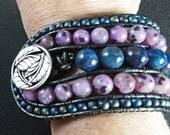 Wrap Bracelet, Purple Bracelet, Blue Bracelet, Beaded Wrap Bracelet, Boho Bracelet