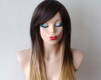 Brown/ Golden blonde Ombre wig. Long Straight hairstyle Quality Heat resistant wig for daytime use or Cosplay.