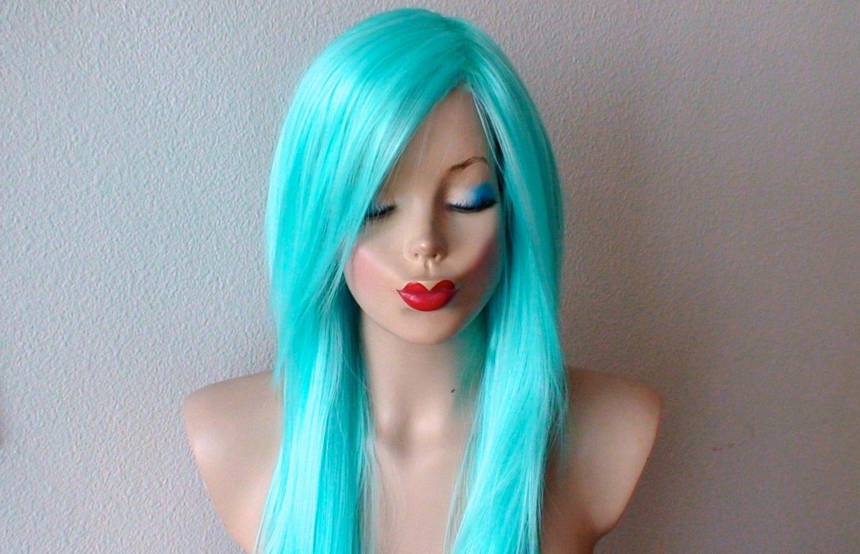 FESHFEN Pastel Green Mint Green Long Straight Synthetic ... |Mint Hair Wig