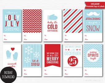 Printable Christmas Gift Tags DIY Packaging Holiday Labels Digital Instant Download PDF Christmas Tags