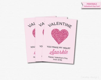 Pink Glitter Heart Sparkle Kids Valentines Cards Classroom Valentines Cards Printable Valentines Day Tags Valentines Tags Digital Modern