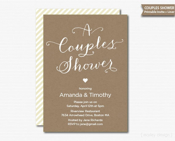 Wedding Shower Invitations For Couples: Printable Couples Wedding Shower Invitation Kraft Rustic
