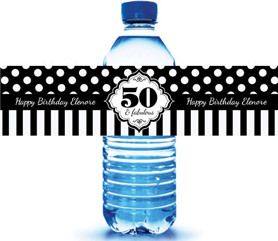 50 and Fabulous Birthday Water Bottle Labels Black and