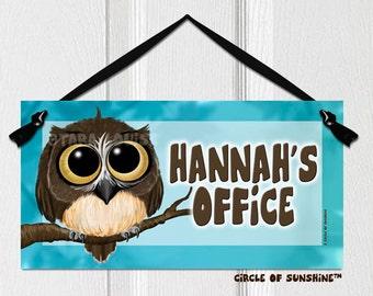 OWL Door Sign, Teal, Home Decor, Office Decor, School Classroom Decor,