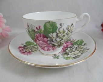 Vintage English Bone China Teacup English Teacup and Saucer Colorful Wildflowers English Tea cup