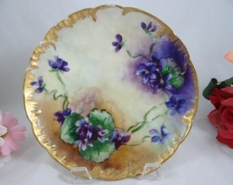 1880s Hand Painted Limoges France Haviland & Cie Hand Painted Violet Plate - 3 Available