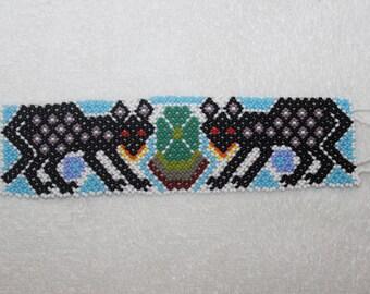 Huichol Beaded Jaguar Bracelet FF-4