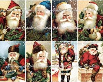 Christmas Download Vintage Santa Download Set Of 8 Graphics