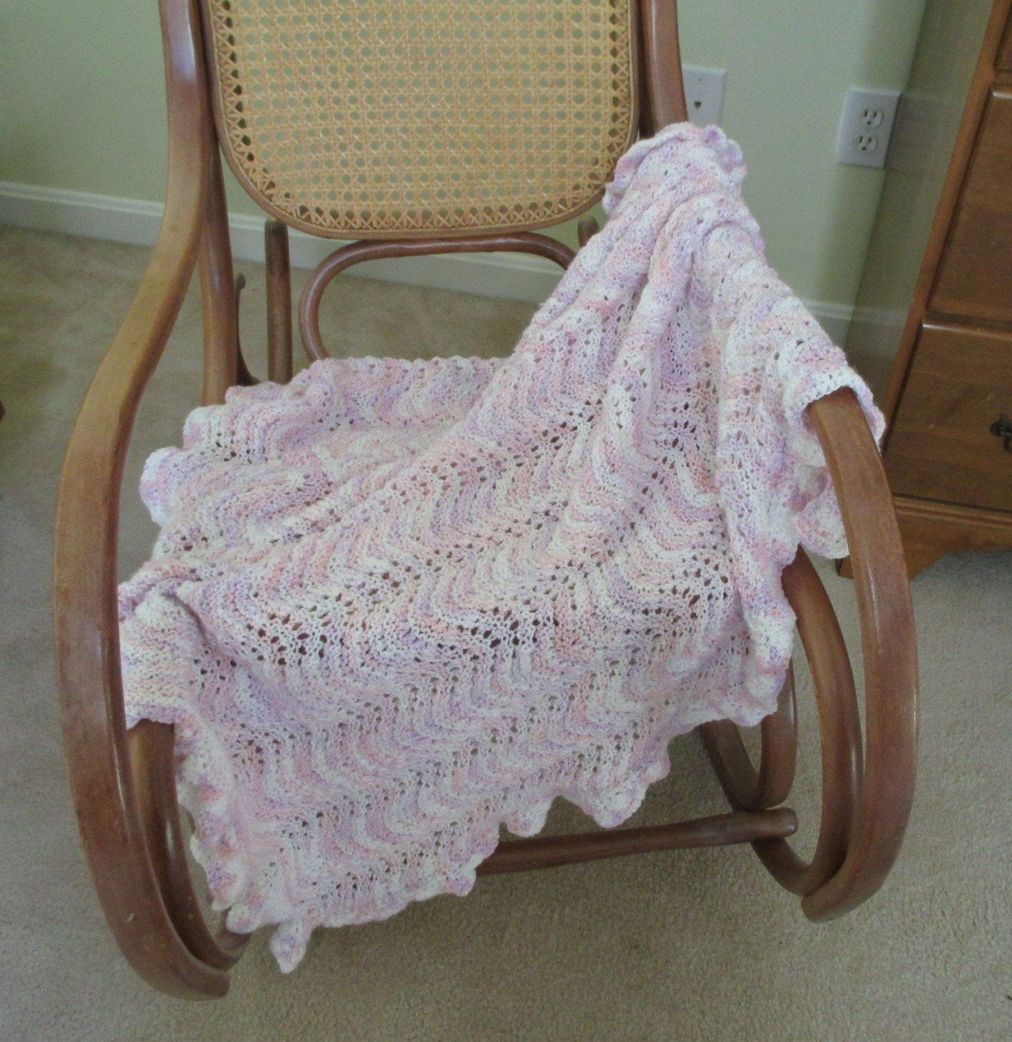 Knitting Edges For Baby Blankets : Knitted baby blanket with crochet edging by stitchingknitting
