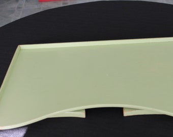Vintage Shabby Lime Green Painted Wooden Breakfast Tray
