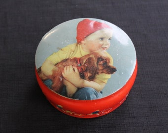 Vintage Chocolate Toffee Tin Child Red Toque Brown Dog