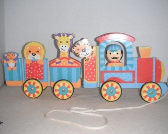 Vintage colorful pull-toy train, magnetic