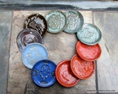 Stamped Stoneware Small Plate/Bowl -Kitten,Owls,Camel,Horse,Triple Spiral,Dragonfly,Om,Ganesh for Tea Bags,Wasabi,Rings, Candle, Whatever...