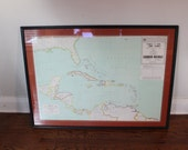 Framed and Matted Map of Caribbean Area