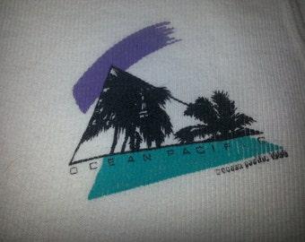 VINTAGE Ocean Pacific Palm Tree White XL Tank Top USA