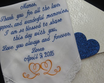 40 words of your choice. Mom's Personalized Lacy Wedding Handkerchief. Free Gift Box With Each One That You Order.