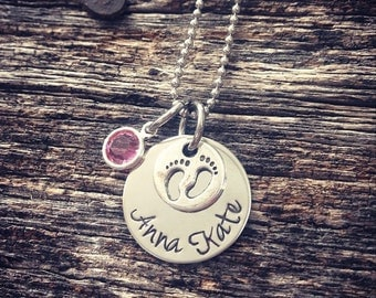 Hand Stamped Personalized Necklace Baby Feet Necklace
