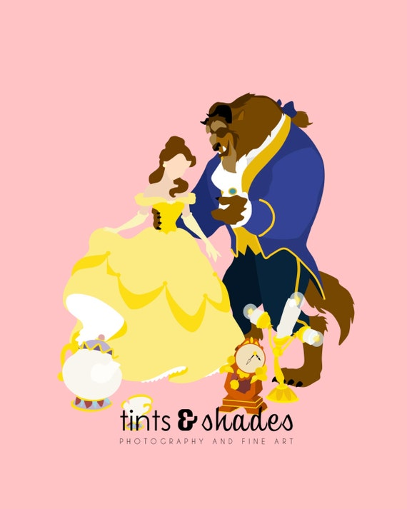 beauty and the beast characters minimalist by