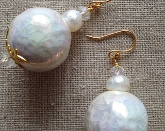 Bold White Ceramic Earrings