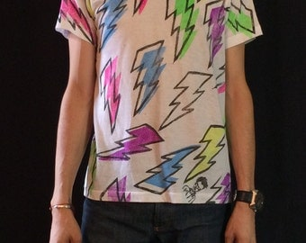 lightning bolt all over hand printed tee