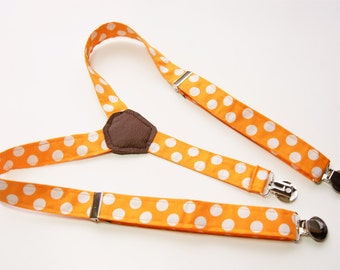 Suspenders - Orange with Ivory Polka Dots Adjustable Suspenders