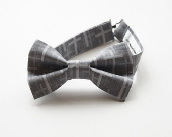 Bow Tie -Grey w/ Light Grey Crosses Bowtie