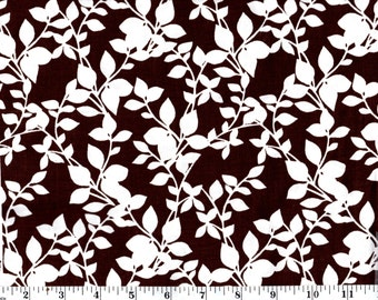 1 yard 35 inches, White Leaves and Stems on Brown Cotton