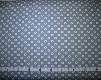 1 Yard, White Circles on Gray Cotton