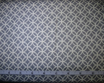 1 Yard, White Double Circles on Gray Cotton