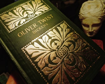 OLIVER TWIST by Charles Dickens gilded and embossed 1800's gold leaf cloth boards