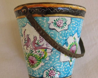 SALE - Antique Small Enamel Pail