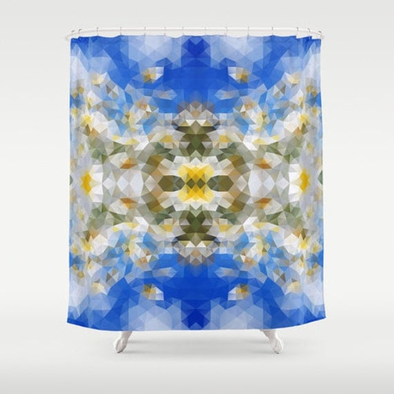 blue shower curtain art curtain geometric curtain abstract