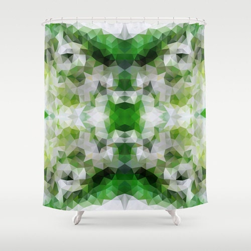 Green shower curtain art curtain bathroom decor abstract for Emerald green bathroom accessories