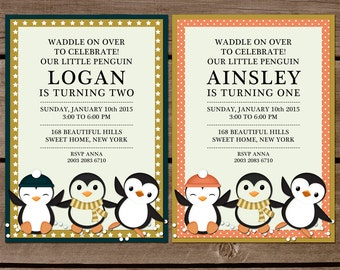 Winter Friends Penguin Birthday Invitation for Boys, girls and twins