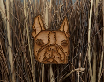 Boston Terrier wooden brooch badge - gift for dog lovers, dog walkers