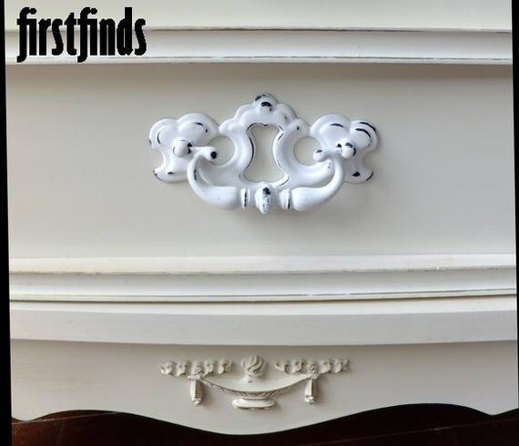 12 Sussex Chippendale Swing Handles White Shabby Chic Furniture Dresser Drawer Painted Hardware Cabinet Pull 3 inch DETAILS BELOW