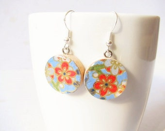 25% OFF. Floral origami drop dangle earrings, sterling silver or surgical steel earwires, eco friendly gift for her.