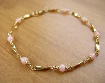 Pink Beaded Chain Bracelet, Seed Bead Bracelet, Layering Bracelet, Delicate Bracelet, Bridal Jewelry