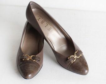 Vintage Size 8.5 N Brown Leather Pumps, Taupe Heels