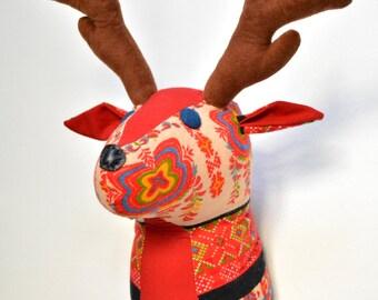 Deer Faux Taxidermy/Deer Trophy Head/ Fabric Animal Trophy/OOAK/wall mount deer head