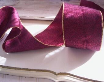 4'' trim/Wire fabric trim/Vintage ribbon trim/Christmas bow supply/Christmas ribbon trim/Winter ribbon trim/4 yards tirm/Fall bow supply