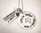 Personalized horse jewelry - Life is Better - horse - horses - name - names - birthstone - hand stamped necklace