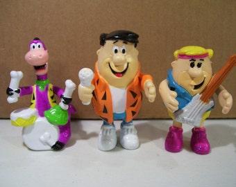 Vintage Flintstones Rock Band Rubber Pvc Figures, 1991, Musicians Fred, Barney Rubble, Dino Dinosaur