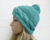 Sale Hand Knit Pom Pom Beanie Hat, Women Cable Knit Pom Pom Hat, Women's Chunky Bobble Hat, Blue Green Chunky Ski Hat, Clickclackknits