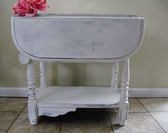 Vintage Table,Painted Table,Distressed Table,Shabby Table,Cottage Table,Farmhouse Table,Drop Down Table