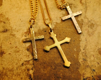 SUPER DOOPER SALE 3 Crosses on chains Vintage for art, altered art, crafts, supplies jewelry, mother mary love no 138 gold golden silver