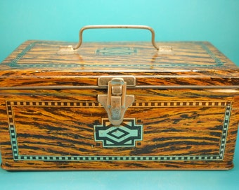 ANTIQUE tobacco faux wood art deco latching lunchbox tin lovely charming much loved made in ENGLAND brown gold wood tin Home Decor storage